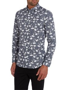 Diesel S-Terami Regular Fit Floral Long Sleeve Shirt