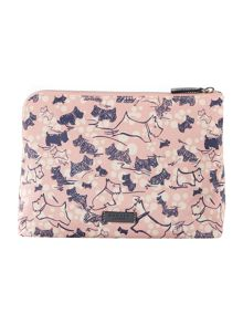 Cherry blossom dog pink large zip pouch