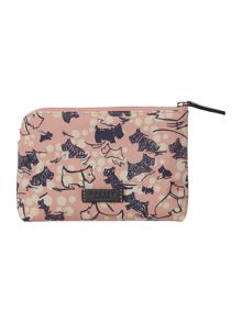 Cherry blossom dog pink small zip pouch