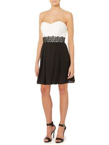 Bandeau Lace Band Fit and Flare Dress