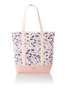 Cherry blossom dog pink large tote bag