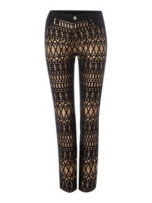 Jacquard front stretch back jeans