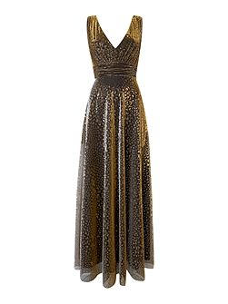 Metallic overlay full skirted maxi dress