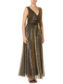 Biba Metallic overlay full skirted maxi dress