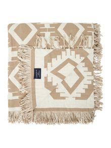 Throw with Fringe in White/Beige