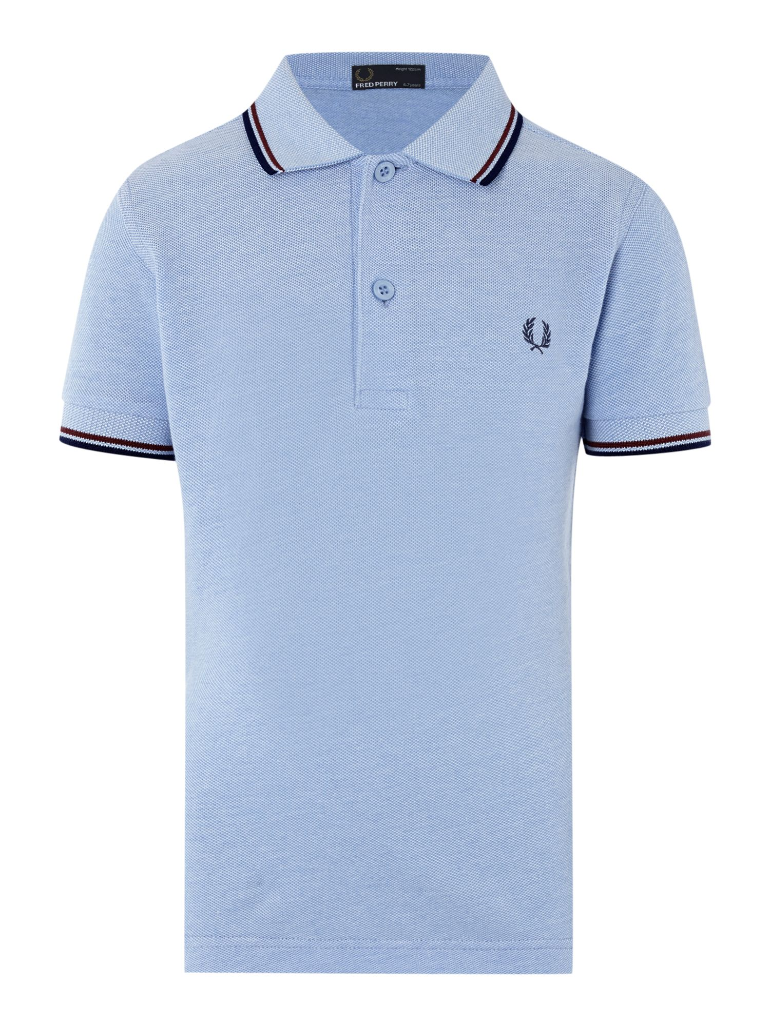 Fred Perry Boys Twin Tipped Classic Polo Shirt Light Blue