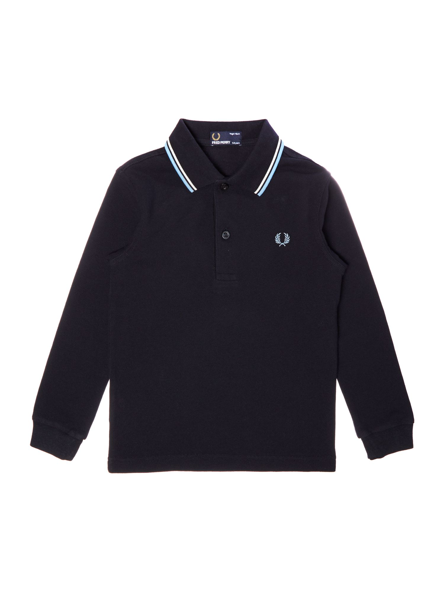 Fred Perry Boys Long Sleeved Twin Tipped Polo Shirt Navy