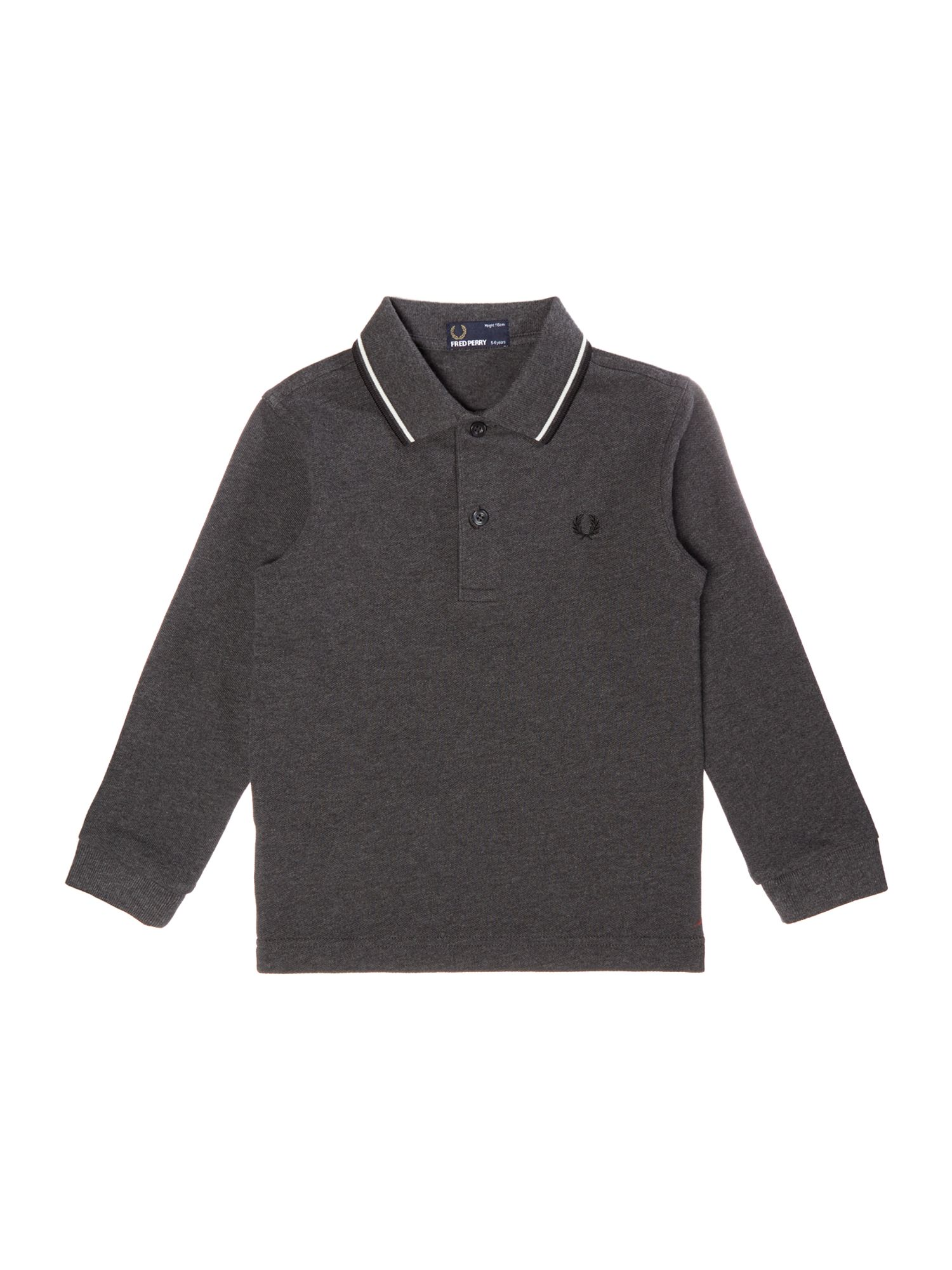 Fred Perry Boys Long Sleeved Twin Tipped Polo Shirt Grey Marl
