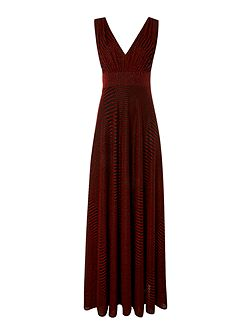 Biba Metallic stripe deep v maxi dress