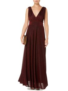 Metallic stripe deep v maxi dress