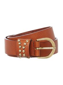 Tan stud coated leather belt