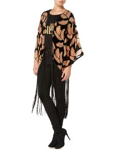 Devore feather fringed kimono