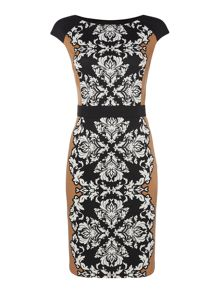 Ponte panel swirl print shift dress