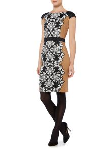 Linea Ponte panel swirl print shift dress