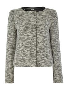 Collarless short textured jacket