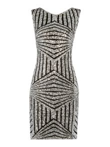 Fully sequin knee length column dress