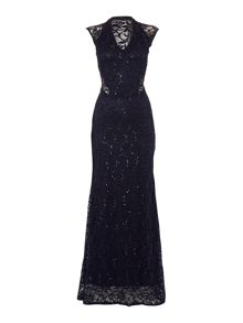 Cap Sleeve V Neck Sequin Maxi Dress