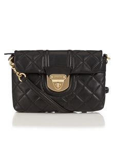 Black small quilted flapover cross body bag