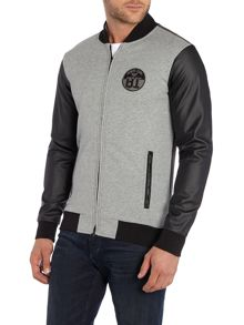 Mixed fabric perforated sleeve baseball jacket