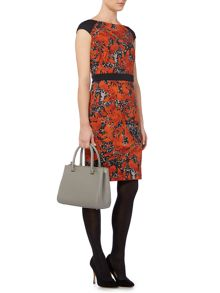 Ponte leaf print shift dress