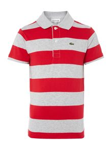 Lacoste Boys Short Sleeved Block Stripe Polo
