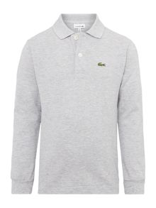 Boys Long Sleeved Pique Marl Polo