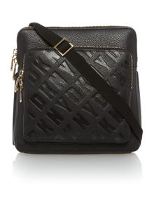 Logo embossed black cross body bag