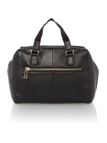 Logo embossed black large satchel