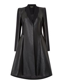 Biba Heritage Faux leather & stretch panelled coat