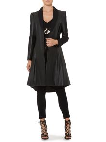 Heritage Faux leather & stretch panelled coat