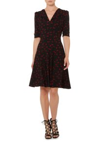 Heritage Printed fit & flare jersey dress
