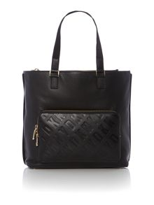 Logo embossed black large tote bag