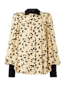 Heritage Collar detail printed volume blouse