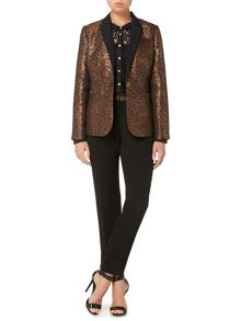 Animal textured jacquard tailored jacket