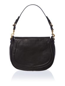 Modern moto black flapover shoulder bag