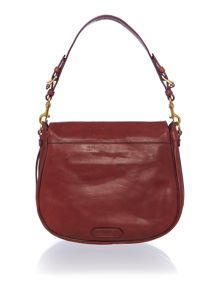 Modern moto red flapover shoulder bag
