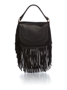 Fringe black large shoulder bag