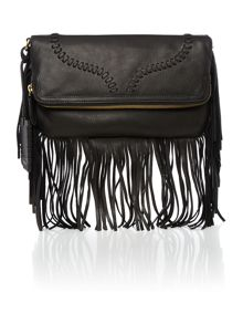 Fringe black clutch bag