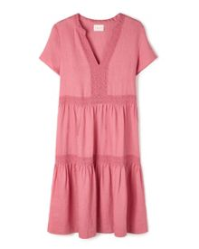 Lace Tiered Linen Dress