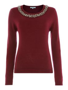 Jumper With 3D Embellished Neckline