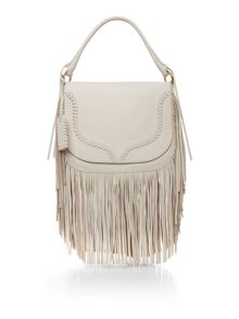 Fringe neutral large shoulder bag