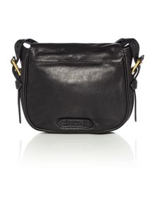 Modern moto black small flapover crossbody bag