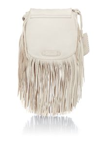 Fringe neutral small crossbody bag