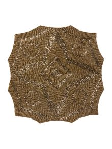 Gold geometric beaded placemat set of 2