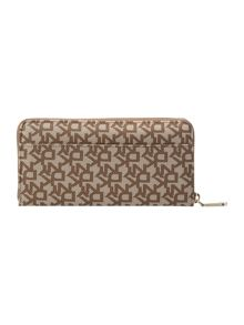 Saffiano neutral large zip around purse