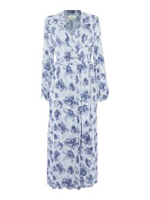 Linea Smoke Floral Long Line Robe