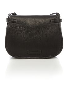Classic black flapover crossbody bag