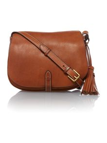 Classic tan flapover crossbody bag