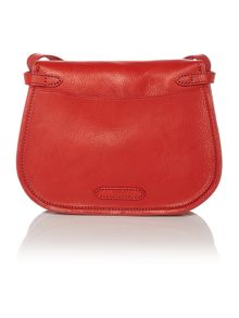 Classic red flapover crossbody bag