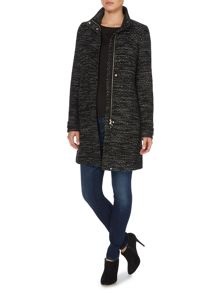 Funnel neck tweed coat